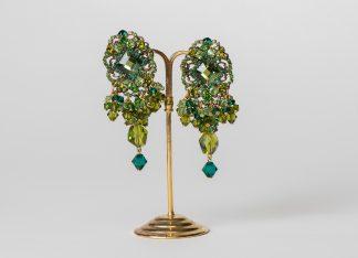 Pendientes de cristal de swarovski verdes