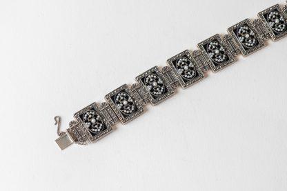 Pulsera de plata con Onix, perlas de agua dulce y marcasitas