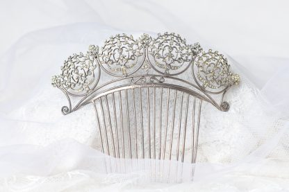 Peineta de novia en plata con circonitas