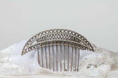 Peineta de plata con cristal tallado