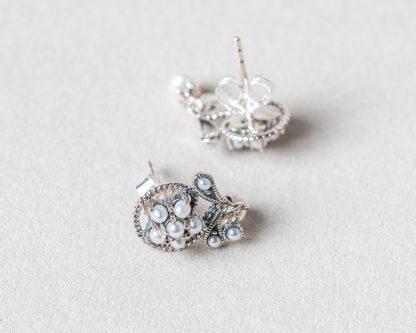 Pendientes Sicilia realizados a mano en plata con marcasitas y perlas de agua dulce