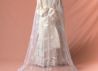 Velo de novia antiguo original del Siglo XIX Manus