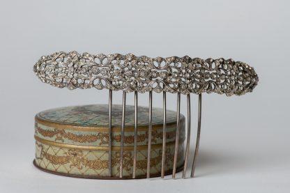 Peineta de plata con circonitas