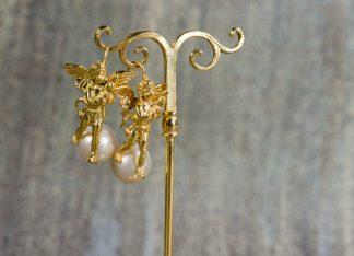 pendientes Angelo Verrocchio en plata dorada con perlas de agua dulce