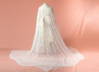 Velo de novia Manzano blanco reproduccion del siglo XIX