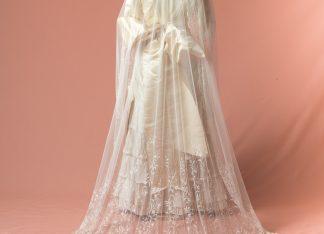 Velo de novia ovalado Sauco bordado a mano