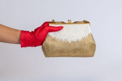 Bolso antiguo dorado y blanco