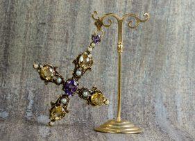 colgante-vintage-plata-dorada-cruz-adoracion de los reyes magos (1)