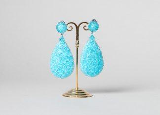 Pendientes Daimiel de cristal de Swarovski azul turquesa