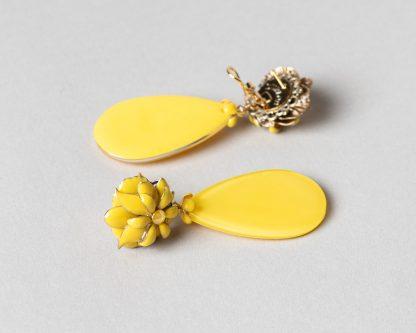 Pendientes Noria en emalte amarillo