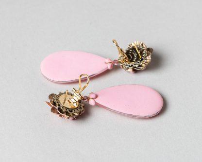 Pendientes Noria en emalte rosa