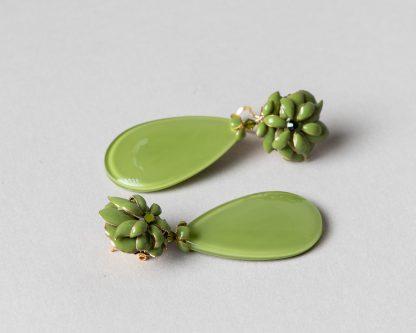 Pendientes Noria en emalte verde