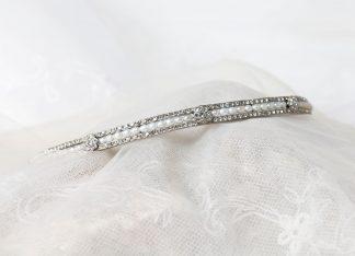 Diadema de plata, circonitas y perlas de agua dulce