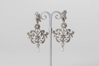 Pendientes en plata y circonitas. Bridal earrings