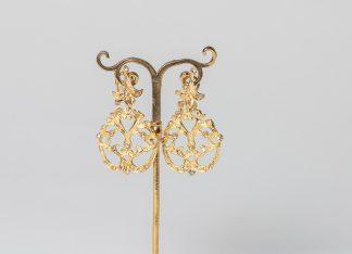Pendientes Jara dorado de plata dorada para novia