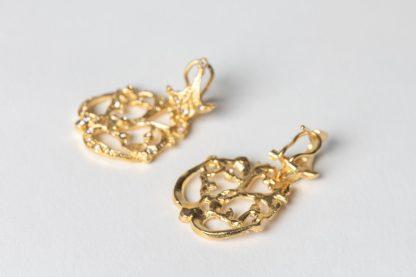 Pendientes de plata dorada para novia