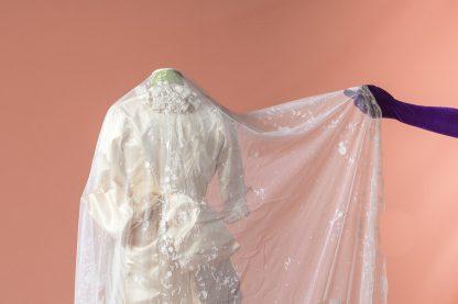 Velo de novia antiguo original del siglo XIX bordado a mano