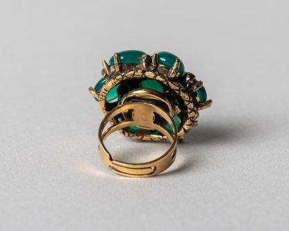 Anillo Lucila en plata dorada con agata verde