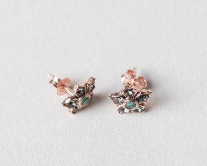 Pendientes Blom en plata rosada y esmeralda