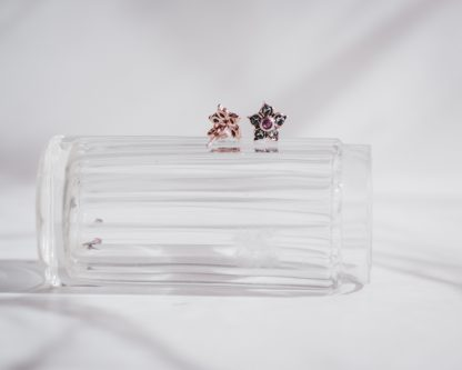 Pendientes Blom en plata rosada y rubi