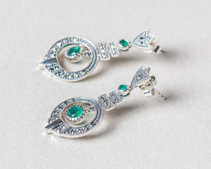 Pendientes Ereso realizados a mano en plata con marcasitas y jade verde natural