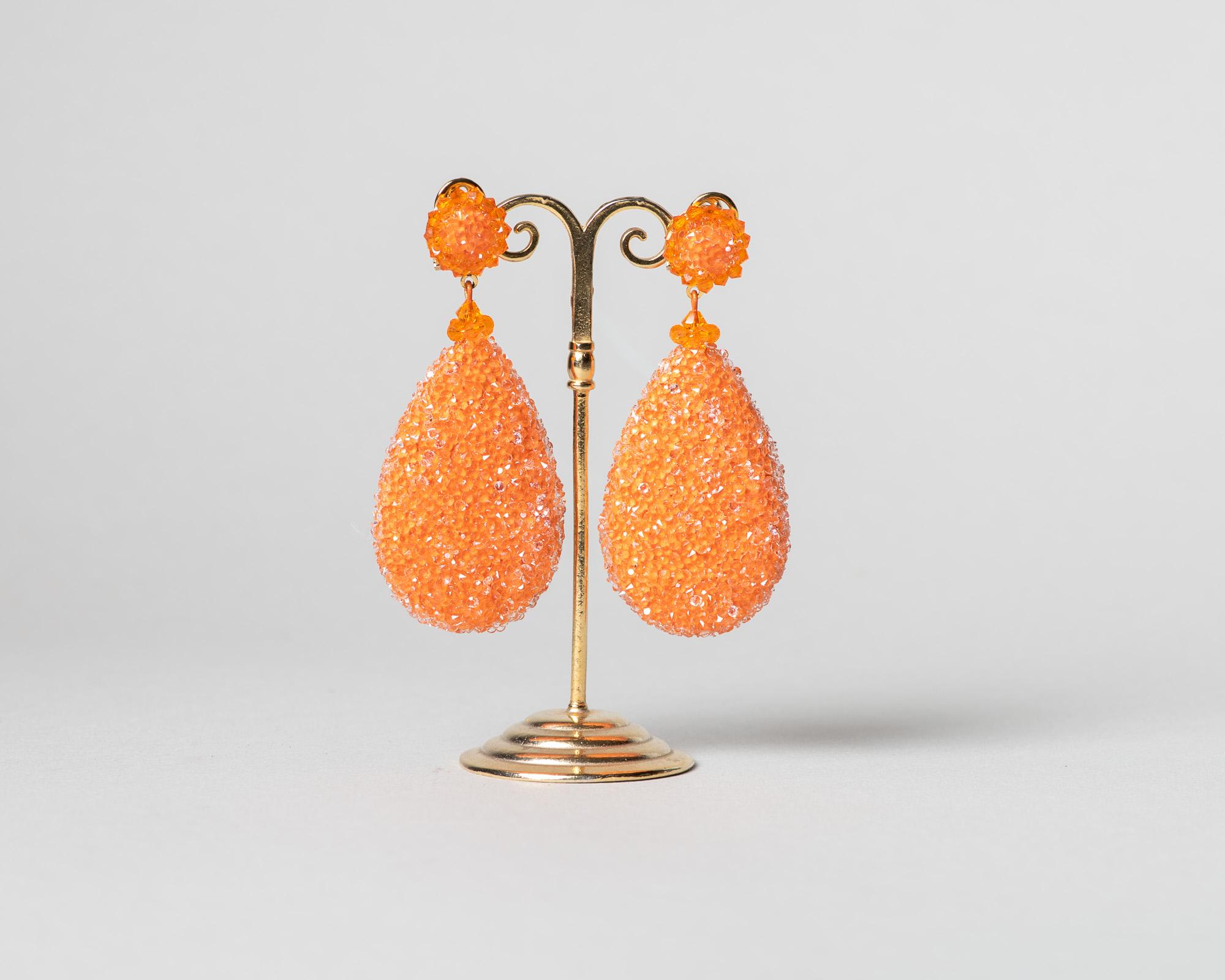 Pendientes Daimiel de cristal de Swarovski naranja
