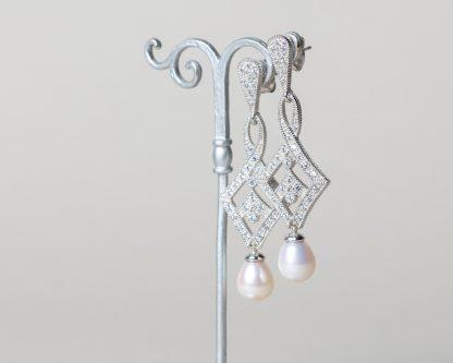 Pendientes de Novia Odeta perla